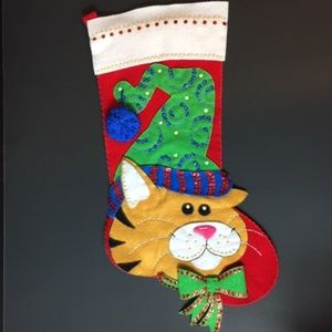 Bucilla Cat In Hat Handmade Sequin Stocking Done